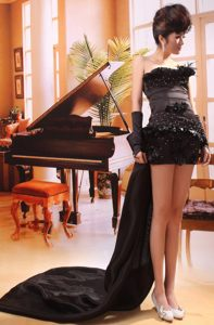 Black Sheath Beading Homecoming Cocktail Dresses Attached Watteau