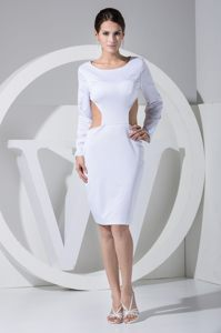 Scoop and Long Sleeves for Cutouts Sides Evening Cocktail Dresses in white