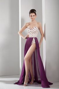 Purple and White A-line Sweetheart Cocktail Dress for Prom with Beading