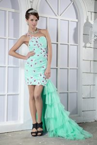 Apple Green One Shoulder High-low and Flowers Appliques Cocktail Dress