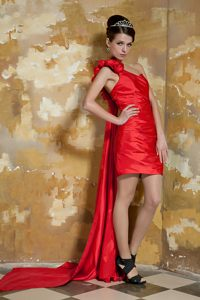 Red One Shoulder and Flowers Prom Cocktail Dress Attached Watteau Train