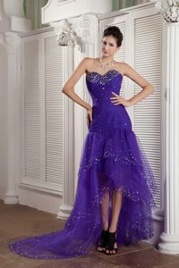 Purple Mermaid Beading Cocktail Dresses with Short Front and Long Back