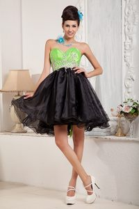Black and Spring Green Sweetheart Prom Homecoming Dress to Mini-length