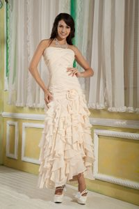 Champagne Handle Flower and Pieces Ruffles Cocktail Dress to Ankle-length