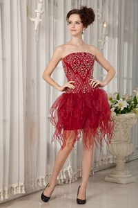 Handkerchief Style Skirt for Wine Red Beading Cocktail Reception Dresses
