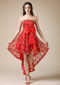 Dalgety Bay Fife Red Bow Strapless Cocktail Dress Made Floral Lace