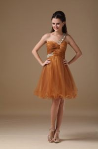 Cowdenbeath Fife Brown Beading One Shoulder Mini Prom Cocktail Dress