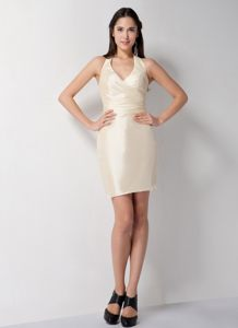 Champagne Halter Top Cocktail Party Dresses to Mini-length in Column