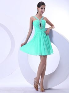 Apple Green Prom Cocktail Dresses with Beaded V-neck and Keyhole