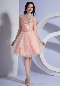 Beading Decorated Bodice A-line Peach Evening Cocktail Dresses 2013