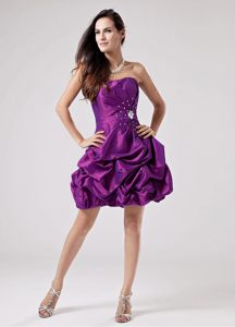 Eggplant Purple Prom Cocktail Dress with Waving Ruffles Decorate Skirt