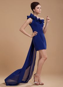 Royal Blue One Shoulder Prom Cocktail Dress with Flower and Watteau