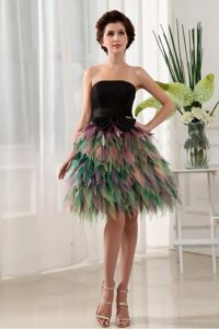 Colorful Homecoming Cocktail Dresses with Bowknot and Pieces Ruffles