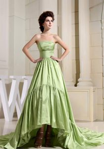Yellow Green Wedding Cocktail Party Dress Attached Court Train In High Low