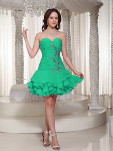 Beading Decorated Sweetheart for Ruffles Green Short Prom Cocktail Dress