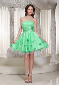 Apple Green Sash Homecoming Cocktail Dresses with Flowers Decorated