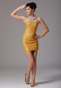Gold Paillette Over Skirt Cocktail Reception Dress with Beading In Colorado