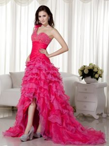 Hot Pink One Shoulder Brush Beading Evening Cocktail Dress in A-line