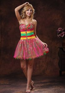 2013 Colorful Sweetheart Beaded Cocktail Party Dresses with Mini-length