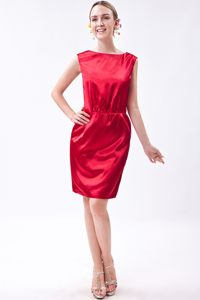 Column Bateau Neckline Mini Homecoming Cocktail Dresses in Wine Red
