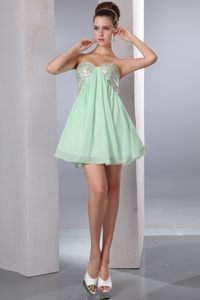 Apple Green Empire Short Cocktail Reception Dresses Chiffon and Sequins