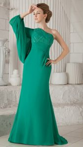 Dark Green One Shoulder Long Sleeves Beading Cocktail Party Dress