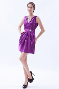 Eggplant Purple 2013 Sheath V-neck Mini Homecoming Cocktail Dress