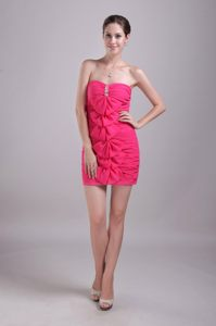 Hot Pink Mini-length Column Chiffon Cocktail Dress with Beadings