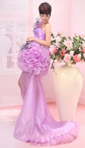 High Slit Hand Made Flower Brush Train Cocktail Gown in Lavender