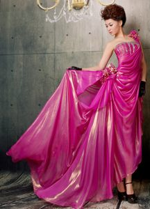 One Shoulder Fuchsia Beaded High-low Evening Cocktail Dress 2013