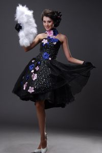Sequined Hand Made Flowers Chiffon Black Prom Cocktail Dresses