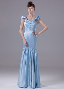 Mermaid Ruffled Cocktail Gown Beaded with Embroidery Cap Sleeves