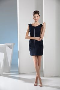 Black Scoop Elastic Woven Satin Ruche Cocktail Dress in Honolulu