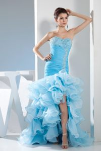 Beaded Sweetheart Mermaid High-low Blue Cocktail Dress Ruffled
