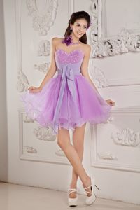 Lavender Mini-length Sweetheart Beaded Cocktail Preses for Cheap