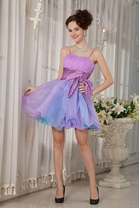 Colorful Straps Mini-length Organza Cocktail Dress with Beadings