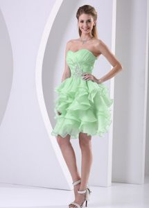 Sweetheart Spring Green Beading Ruffled Cocktail Dress for Cheap