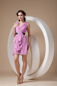 Mini-length Pink Chiffon V-neck Ruched Dress for Cocktail Party