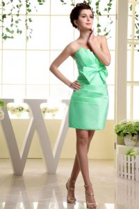 Apple Green Mini-length Bowknot Strapless Cocktail Dress on Sale