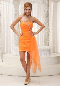 Orange Beaded Sweetheart Prom Cocktail Dresses Ruffled for Cheap