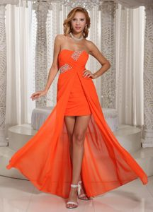 High-low Orange Red Chiffon Beaded Cocktail Dress in Montpelier