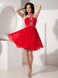 Mini-length chiffon Beading Red Cocktail Dress with Straps Cheap