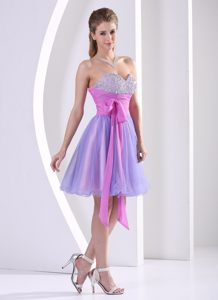 Beaded Lavender Knee-length Sweetheart Cocktail Dress With Sash
