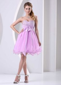 Beaded Baby Pink Knee-length Sashed Organza Short Cocktail Dress