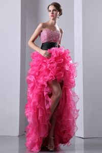 Hot Pink Beaded Sweetheart Organza High-low Cocktail Dress 2014