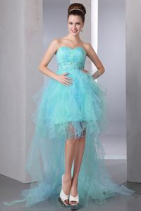 Aqua Blue Beading High-low Cocktail Gown in Little rock Arkansas