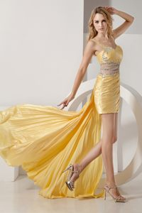 Detachable High-low Yellow Straps Cocktail Dress Beaded in Boise