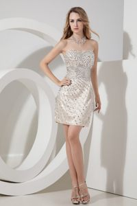Champagne Short Column Satin Cocktail Dress with Beading on Sale