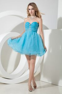 Aqua Blue Sweetheart Short Beaded Cocktail Dress in Baton Rouge