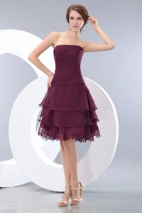 Burgundy Chiffon A-line Cocktail Dress Layered in New Hampshire